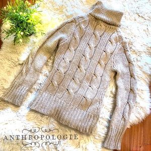 Anthropologie • Cable Knit Turtleneck Sweater